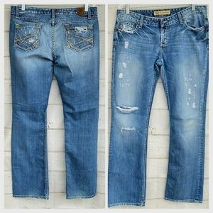 BKE Sabrina Boot Jeans Destroyed 30 X 33.5
